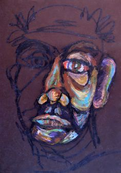"""Portrait"" Oil pastel on paper by DLOgburn inspiration to have students do blind contour drawing and then use color to highlight a few areas."