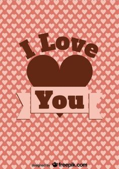 Vintage Card Design I Love You Message and Hearts