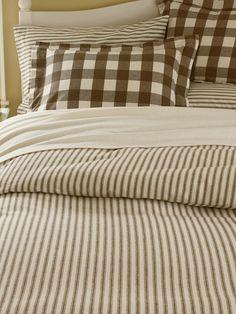 Red Printed Ticking Stripe Bed Set Ticking Time Balm