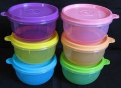 """Tupperware New Mini Snack Ideal Little Bowls 6pcs by Tupperware. $32.75. Color: Purple pink green aqua blue orange and yellow. Capacity: 8 ounces (250 ml)/each. Set of 6. Diameter x Height: 3-7/8"""" x 2-1/4"""" (9.9 x 5.8 cm). ·Versatile little bowls are perfect for transporting bite-size cereal pieces, raisins, small chunks of fruit and homemade baby foods  ·Can also be used to store or transport cotton balls and other small items or keep a pacifier clean when on-the-go..."""