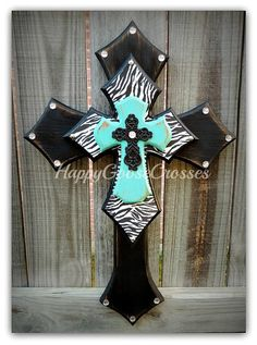 Wall CROSS - Wood Cross - Small - Zebra with Antiqued Black & Turquoise (or colors of your choice) Mosaic Crosses, Wooden Crosses, Crosses Decor, Wall Crosses, Decorative Crosses, Cross With Wings, Cross Drawing, Cross Love, Turquoise Walls