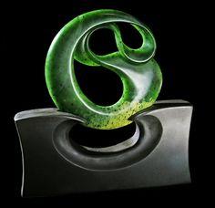 New Zealand Nephrite Jade Sculpture diameter, carved by artist Richard…