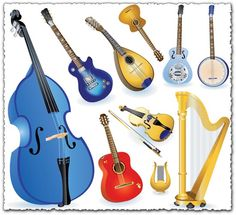 Different String Instruments elements vector set Boy Music, Music Mood, Music Notes Background, Music Symbols, Music Page, Music Backgrounds, Musical Instruments, Musicals, Things To Sell