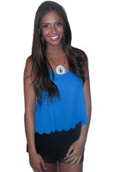 blue caribbean top #backless #blue #butterfly #crop #croptop #girly #large #medium #scalloped #sheer #shirt #small #summer #tank #tanktop #top