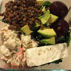 Hearty salad on a work night. Bed of kale and/or spinach. Feta, goat cheese, avocado, beets, cooked lentils, chunky white chicken salad. All items available to at the store in ready-to eat packages. Takes 10 min to throw together in a bowl.