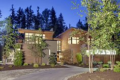 Contemporary house in Seattle surrounded by forest