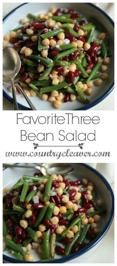 This favorite Three Bean Salad is one you can take to any event, picnic or family reunion this summer! It's enjoyed by everyone, and uses freshly blanched green beans for that summer crispness! 3 Bean Salad, Three Bean Salad, Green Bean Salads, Bean Salad Recipes, Healthy Salad Recipes, Veggie Recipes, Three Beans, Pesto Pasta Salad, Legumes