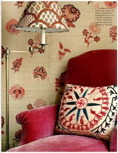 Textile Designer Lisa Fine's Paris Home, Suzani Pillow, Velvet Chair Red Interior Design, Indian Living Rooms, Ottoman, Red Rooms, Red Interiors, Indian Interiors, French Interiors, Eclectic Decor, Pattern Mixing