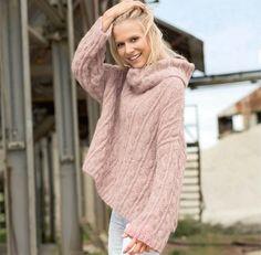 Объемный пуловер с «косами» - Вязаные модели спицами для женщин