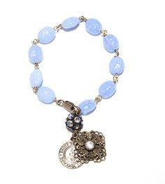 "Arcadia Blue Love Link Bracelet. Vintage Powder Blue Love Bracelet with Swarovski Crystal Charm. 7.5"" $80"