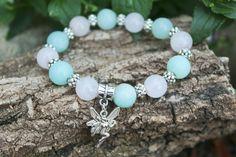 Handmade Amazonite and rose quartz bracelet. Moon Store, Rose Quartz Bracelet, Crystal Bracelets, Bracelet Designs, Pagan, Photo And Video, Crystals, Handmade, Jewelry