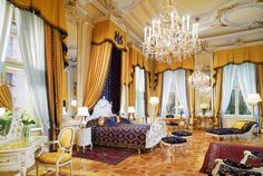 Today's Royal Suites were once the private apartments of the palace's owner, Phillip of Wurttemberg. Exquisite crystal chandeliers glitter from seven-metre high stucco-decorated ceilings casting the rooms in sparkling aristocratic flair.
