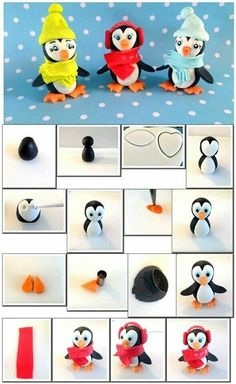 Penguin tutorial by sweet jana sugar art More of a wintery kind of fondant.Cute penguins - fimo or fondantStep By Step Tutorial On How To Make Cute Penguins Using Sugarpaste. Polymer clay tutorial for Christmas ornament. Christmas Cake Topper, Christmas Cake Decorations, Fondant Decorations, Christmas Cupcakes, Cake Topper Tutorial, Fondant Tutorial, Cake Decorating Supplies, Cake Decorating Tutorials, Christmas Clay