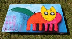 'cat and a half' mixed media painting, 140 x 80 cm, by Paul Megens. Mixed Media Painting, Pikachu, Cats, Fictional Characters, Gatos, Cat, Fantasy Characters, Kitty, Kitty Cats