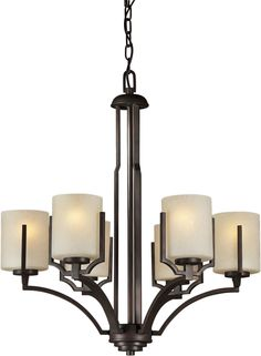 6 Light Chandelier with Umber Linen Glass Shade