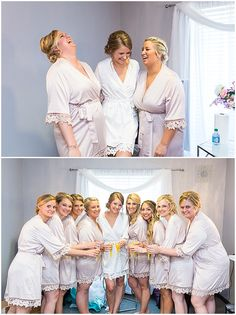 Matching robes for the bride and bridesmaids to wear while getting ready. Iowa Wedding Photography | CTW Photography