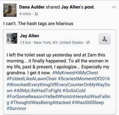 Hashtag hilariousness! When a man falls in because HE left the toilet seat up, ha!
