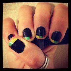 Rasta tipped nails #nailart #nails #mani #manicure #DIY #beauty #trends #style