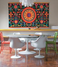 Wall hung tapestry, modern dining
