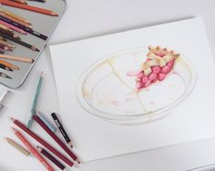 Kendyll Hillegas' Food for Thought - Food Illustrations, Frozen Treats, Food For Thought, Food Art, Colored Pencils, Childhood Memories, Art Decor, Pie, Painting