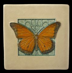 Art tile, Ceramic tile, Monarch butterfly, 4x4 inches, deco tile, home decor by MedicineBluffStudio on Etsy