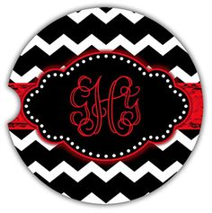 Monogrammed car coaster PAIR  Chevron print with grunge ribbon  Personalized car decor *** Details can be found by clicking on the image.Note:It is affiliate link to Amazon.