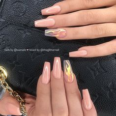 Coffin nails is one of the most popular types of nails among nail lovers. Its po… - Nails Best Acrylic Nails, Summer Acrylic Nails, Spring Nail Art, Spring Nails, Autumn Nails, Winter Nails, Nail Art Designs, Nails Design, Swag Nails