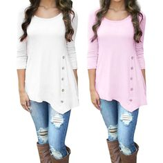 59763b096b3f7 Women Long Sleeve Loose Button Trim Blouse solid color Round Neck Tunic T- Shirt