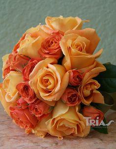 Orange rose bridal bouquet. #OrangeRoses #BridalBouquets #OrangeWeddingTheme