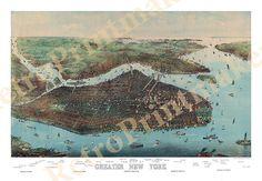 New York, Battery Park, Bronx, Queens, Manhattan, Brooklyn, Richmond, & Hudson River 1905 NY0009 Vintage Reproduction Poster Print Map