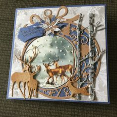 Diy Crafts For Gifts, Paper Crafts, Homemade Christmas Cards, Christmas Decorations, Christmas Ornaments, Marianne Design, Christmas Animals, Winter Cards, Masculine Cards
