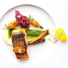 Grey mullet with carrot/coriander juice & young carrots. Great dish uploaded by @n.henkel #gastroart by gastroart #instagram