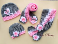 Crochet set hat and scarf, crochet baby girl hat and scarf, crochet grey and pink beanie and scarf, toddler hat with flowers-butterfly by Ouplexeis