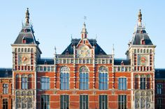 Centraal Station - Featured on RueBaRue,  a magnificent brick structure with twin turrets.