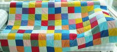 "Quilt patchwork bed cover multicolor bedding throw solids modern red blue green yellow orange purple light pink turquoise 45 x 69"" kids gift"