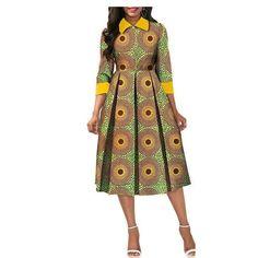 African Dresses for Women Dashiki Elegant Slim Africa Clothe, three quarter sleeve calf-length zipper A-line wax cotton dress for women African Fashion Ankara, Latest African Fashion Dresses, African Print Fashion, Africa Fashion, Short African Dresses, African Print Dresses, Ankara Dress Styles, African Traditional Dresses, African Design