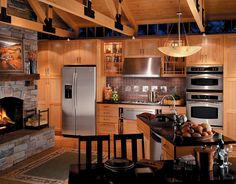 wood finish cabinets with stainless steel appliances DOES work