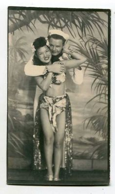 1940's, a girl and her sailor 40s found photo booth sarong bikini hawaii island