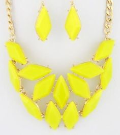 Acrylic Stone Bib Necklace Set in yellow Necklaces Earrings Set Bib Sharp Tear drop in yellow   https://nemb.ly/p/HJGEwvuv_ Happily published via Nembol