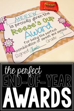 This file includes 30 candy-themed awards for teachers to customize and give to their students at the end of the year.