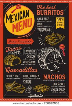 Christmas menu template for mexican restaurant and cafe on a blackboard background vector illustration brochure for xmas dinner celebration. Design poster with vintage lettering and hand-drawn graphic Menue Design, Food Menu Design, Cafe Design, Mexican Food Menu, Mexican Restaurant Design, Logo Restaurant, Restaurant Ideas, Menu Original, Tacos Menu