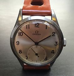 Rare-Vintage-Omega-Wrist-Watch-Great-Condition-1954-Steel-Case-Sub-Second-Dial