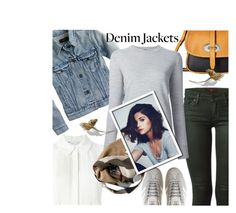 """Denim trend: Jean Jackets"" by tinayar ❤ liked on Polyvore featuring 7 For All Mankind, Diane Von Furstenberg, J.Crew, Dooney & Bourke, adidas, ADAM and Burberry"