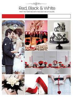 Red, black and white inspiration board, color palette, mood board