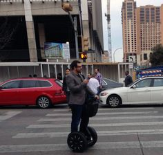 Well if this isn't a sign of the times....Man checks smart phone, while wearing Google Glass, while on a Segway! #Tech #GoogleGlass