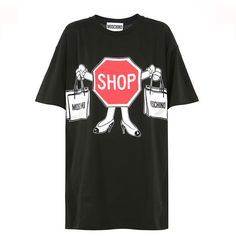 Moschino Short Sleeve Shop T-Shirt (24440 RSD) ❤ liked on Polyvore featuring tops, t-shirts, black shirt, vinyl t shirt, oversized shirt, oversized t shirt and graphic shirts