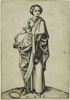 The Fourth Foolish Virgin, Oil by Martin Schongauer (1448-1491, Germany)