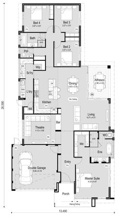 The Juniper - RedInk Homes-no study Best Picture For dream house boho For Your Taste House Layout Plans, New House Plans, Dream House Plans, House Layouts, House Floor Plans, My Dream Home, Sims House Design, Brick Construction, Home Design Floor Plans