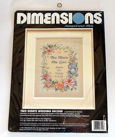 Dimensions Stamped Cross Stitch Kit 3122 Two Hearts Wedding Record 11X14 Sealed #Dimensions #SamplerPersonalize #stampedcrossstitchkit
