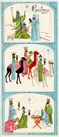 Vintage mid-century Christmas greeting card of the wise men visiting baby Jesus in red, aqua blue, pink, & green colors